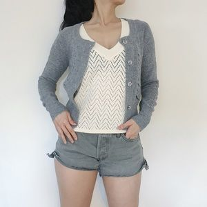 NEW Cashmere Blend Cropped Sweater - Gray - XS